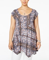 American Rag Trendy Plus Size Printed Handkerchief Hem Tunic Only At Macy's Classic Black