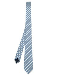 Valentino Striped Silk And Cotton Blend Tie Light Blue