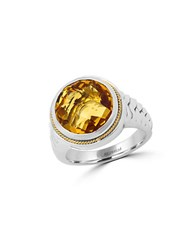 Effy 925 Sterling Silver 18K Yellow Gold And Citrine Ring Orange