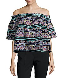 Romeo And Juliet Couture Embroidered Cropped Top Navy
