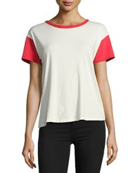 Rag And Bone Colorblocked Vintage Crewneck Tee White Red White Pattern