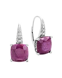 John Hardy Sterling Silver Classic Chain Magic Cut Indian Ruby Drop Earrings With Diamonds Pink Silver
