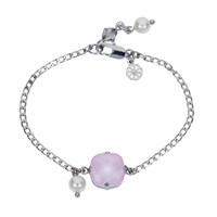 Nadia Minkoff Square Stone And Glass Pearl Bracelet Soft Pink Silver Pink Purple