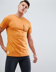 Native Youth Stitch Pocket T Shirt Orange
