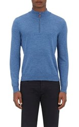 Barneys New York Men's Fine Gauge Mock Turtleneck Sweater Blue