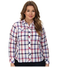 Columbia Plus Size Camp Henry L S Shirt Purple Lotus Plaid Women's Long Sleeve Button Up White