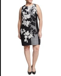 Vince Camuto Floral Print Sleeveless Sheath Dress Black