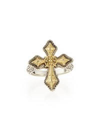 Konstantino Engraved Sterling Silver And Gold Cross Ring Silver Gold