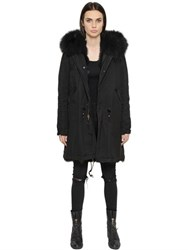 Mrandmrs Italy Cotton Canvas Parka With Fox Fur