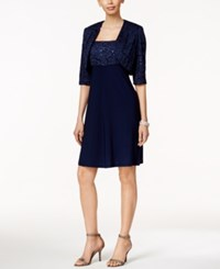 R And M Richards Petite Sequined Lace Fit And Flare Dress And Jacket Navy
