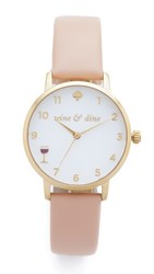 Kate Spade Metro Wine And Dine Leather Watch Vachetta White Gold