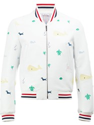 Thom Browne Animal Print Bomber Jacket White