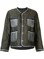 Undercover Quilted Embroidered Bomber Jacket Green