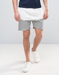 Solid Jersey Shorts In Towelling And Stripe 0104 White
