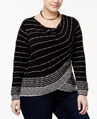 Inc International Concepts Plus Size Striped Surplice Sweater Only At Macy's Deep Black