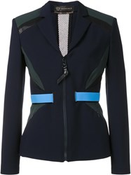 Versace Accent Banded Fitted Jacket Blue