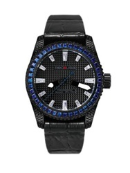 Red8usa Scandal Automatic Crystal Black Pvd And Alligator Embossed Rubber Strap Watch Blue Black Blue
