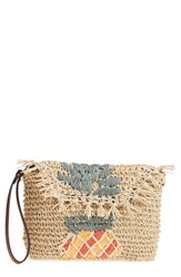 Tommy Bahama Mama Woven Wristlet Beige Pineapple Applique