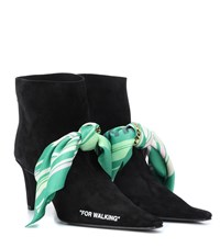 Off White For Walking Suede Ankle Boots Black