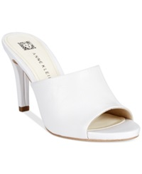 Anne Klein Objective Dress Mules White Leather