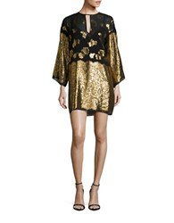 Rachel Zoe Bell Sleeved Floral Shimmer Shift Dress Black Gold
