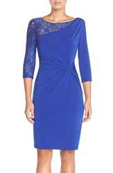 Ellen Tracy Lace Sleeve Jersey Sheath Dress Cobalt