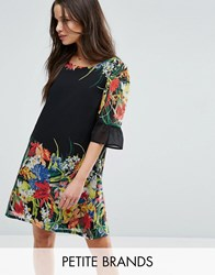 Yumi Petite Swing Dress With Frill Sleeves In Border Print Black