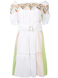 Peter Pilotto Bardot Guipare Lace Trim Dress Women Cotton Polyamide Spandex Elastane 8 White