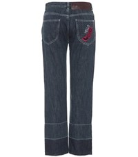 Loewe Embroidered High Waisted Jeans Blue