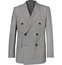 Kingsman Harry's Grey Puppytooth Wool And Linen Blend Suit Jacket Gray