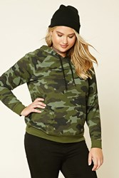 Forever 21 Plus Size Camo Print Hoodie Olive