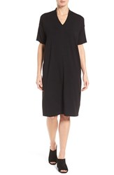 Eileen Fisher Women's V Neck Stretch Jersey Shift Dress Black