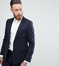 Heart And Dagger Skinny Suit Jacket In Wool Mix Check With Straight Hem Navy