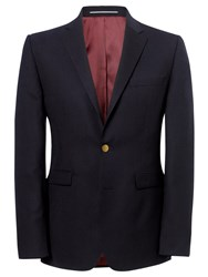 John Lewis Hopsack Merino Wool Single Breasted Blazer Navy
