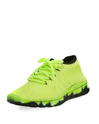 Maison Martin Margiela Painted Crackle Knit Trainer Green