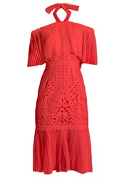 Temperley London Berry Lace Off The Shoulder Dress Coral