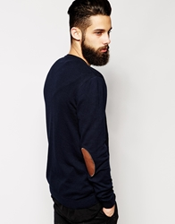 Asos Crew Neck Jumper With Elbow Patch In Cotton Navy