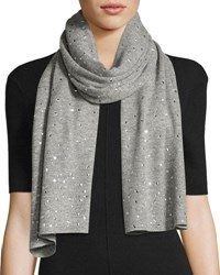 Neiman Marcus Cashmere Wool Glitz Shawl Scarf Heather Gray