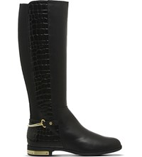 Office Emperor Crocodile Effect Leather Riding Boots Black Leather