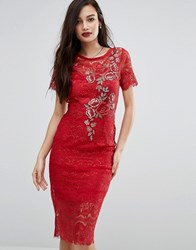 Body Frock Bodyfrock Lace Bodycon Dress With Floral Applique Red