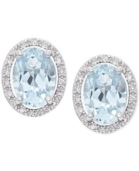 Macy's Aquamarine 1 1 3 Ct. T.W. And Diamond 1 10 Ct. T.W. Halo Stud Earrings In 14K White Gold