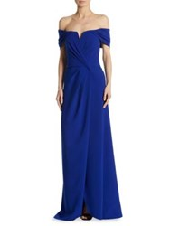 Rene Ruiz Grecfian Off The Shoulder Draped Gown Cobalt