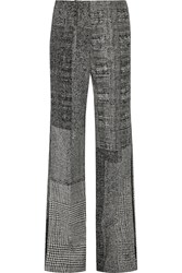 Jason Wu Patchwork Wool Jacquard Wide Leg Pants Gray