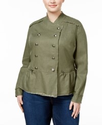 Inc International Concepts Plus Size Linen Military Jacket Only At Macy's Olive Drab
