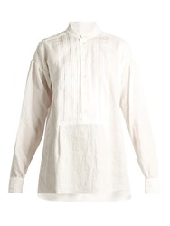 Joseph Maine Pleated Bib Vintage Linen Blouse White