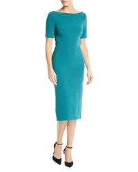 Zac Posen Bateau Neck Short Sleeve Fitted Knee Length Cocktail Dress Teal