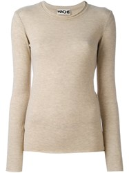 Hache Ribbed Trim Jumper Nude And Neutrals