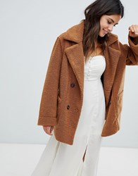 Moon River Reversible Fleece Coat Brown