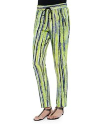 Andrew Marc New York Drawstring Pants Citron Stripe