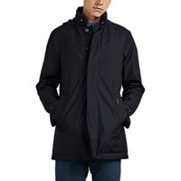Moorer Tech Twill Zip Front Coat Navy